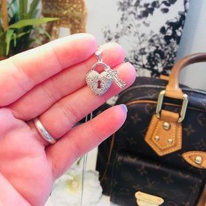 Jewelry - 925 Sterling Diamond Illusion Heart Lock Necklace